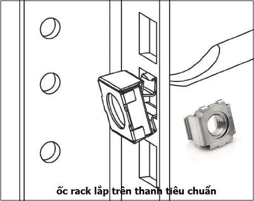 ốc cài tủ rack trên thanh tiêu chuẩn